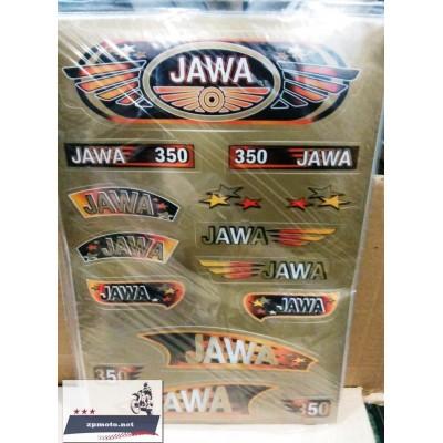 Наклейки JAWA 350 634 638 золотистые, комплект